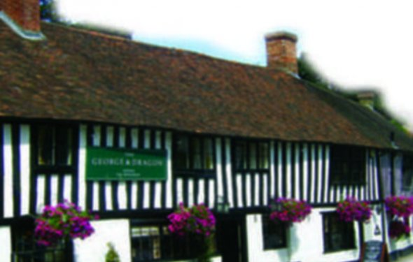 Ancient timbered pub with